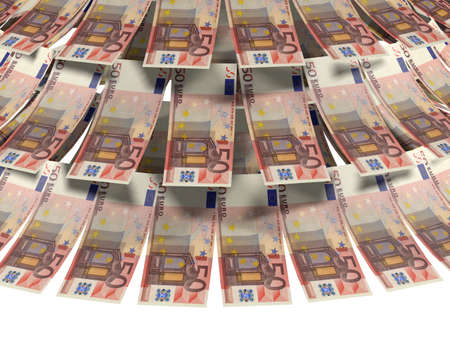 christmas debt: Euro notes maden as Christmas tree against white background