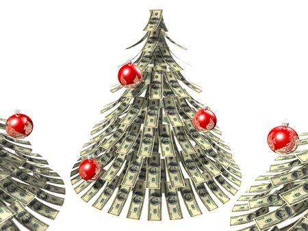 白い背景に、偽物のクリスマス ツリーとしてドル ノート魔伝