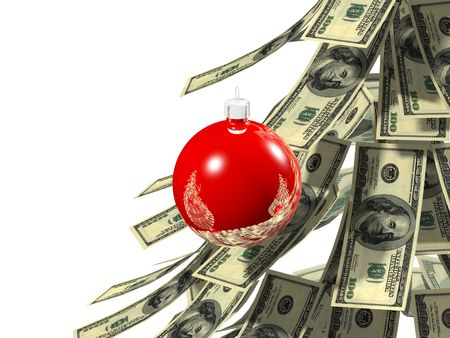 Dollars notes maden as Christmass tree against white background Stock Photo - 2104874