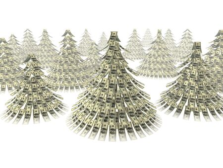 白い背景に対して人工クリスマス ツリーとしてドル ノート魔伝