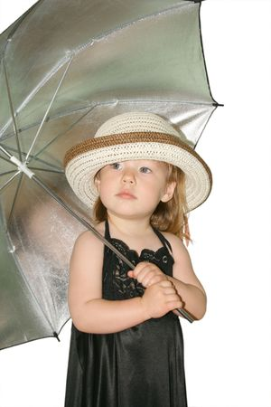 Small pretty girl with umbrella and hat photo