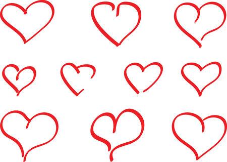 Few handdrawed hearts Illustration
