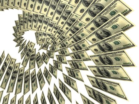 The helix (spiral) of United States dollars Stock Photo