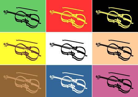 Vector Line art image of violin Ilustrace