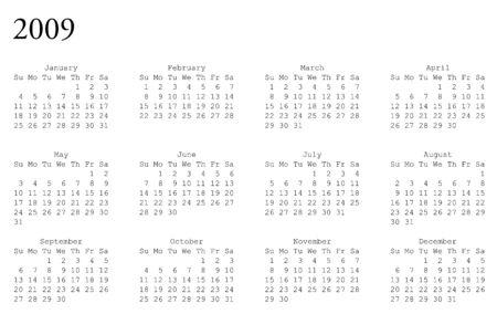 水平指向の 2009 年の予定表のグリッド