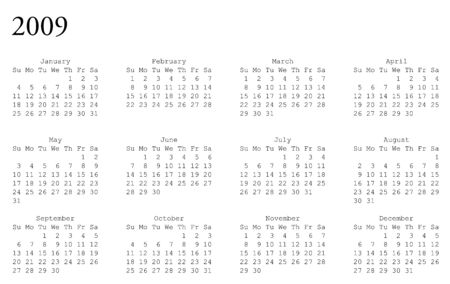 oriented: horizontal oriented calendar grid of 2009 year Illustration