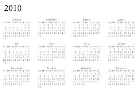 thursday: horizontal oriented calendar grid of 2010 year
