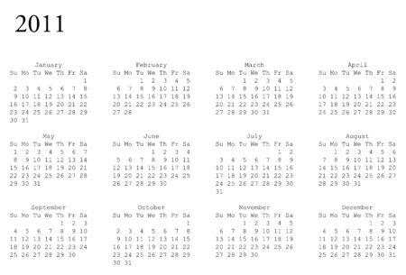 水平指向の 2011 年の予定表のグリッド  イラスト・ベクター素材