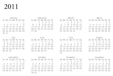 oriented: horizontal oriented calendar grid of 2011 year