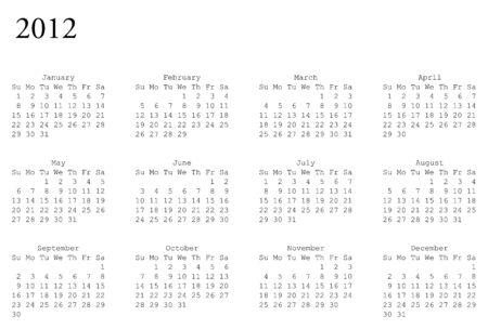 horizontal oriented calendar grid of 2012 year