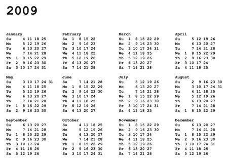 portrait oriented calendar grid of 2009 year