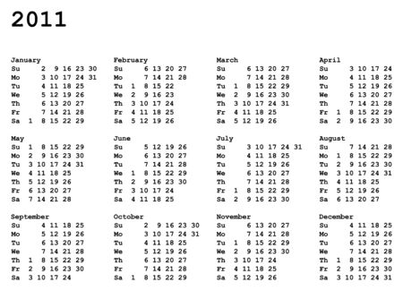 2011 年の肖像画方向づけられたカレンダー グリッド