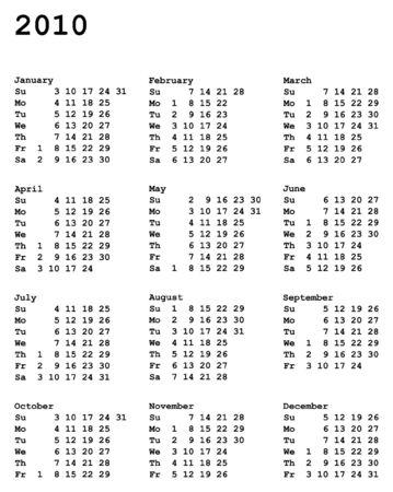 肖像指向の 2010 年のカレンダー グリッド 3 x 4