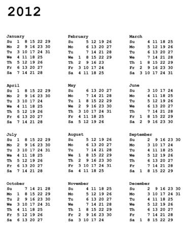 肖像指向の 2012 年のカレンダー グリッド 3 x 4