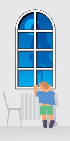Window at evening. Moon and tree outside. Small boy is waiting and traying to look thru window. Vector