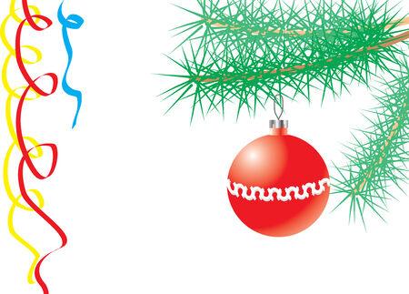 松の枝に新年ボールのベクトル図