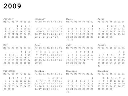 水平指向の 2009 年のカレンダー グリッド。月曜日は週の最初の日