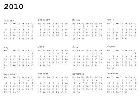 水平指向の 2010 年のカレンダー グリッド。月曜日は週の最初の日