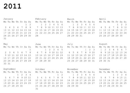 horizontal oriented calendar grid of 2011 year. Monday is first day of week