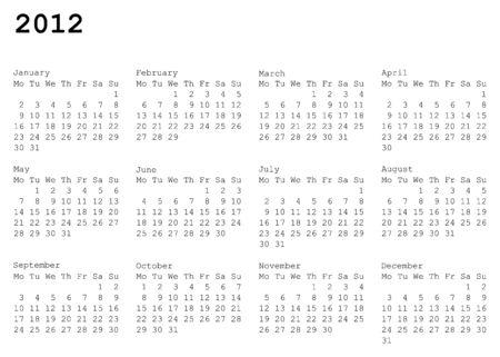 水平指向の 2012 年のカレンダー グリッド。月曜日は週の最初の日  イラスト・ベクター素材