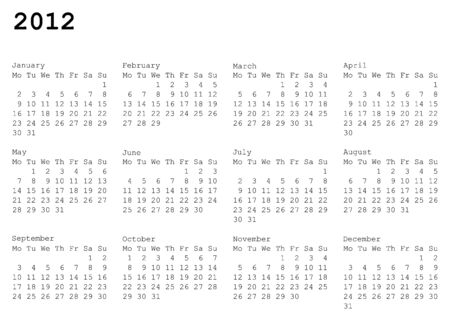 horizontal oriented calendar grid of 2012 year. Monday is first day of week