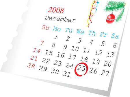 Christmas calendar page december 2008. The 25-th date is checket.