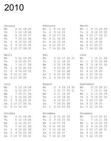 vertical oriented calendar grid of 2010 year. Monday is first day of week Stock Vector - 3502402