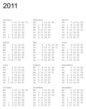 thursday: vertical oriented calendar grid of 2011 year. Monday is first day of week