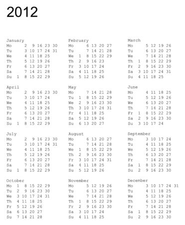 vertical oriented calendar grid of 2012 year. Monday is first day of week Vector