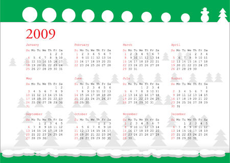 2009 年冬のイメージの水平型カレンダー グリッド