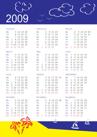 vertical oriented calendar grid of 2009 year. Monday is first day of week. With tropic theme. Stock Vector - 3548768
