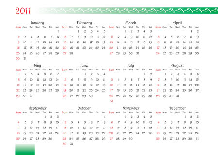 horizontal oriented calendar grid of 2011 year with decorated font and ornament Vector
