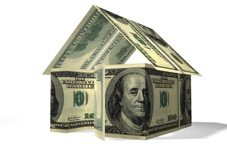 Conceptual 3D rendered house made by dollars Stock Photo - 3574635