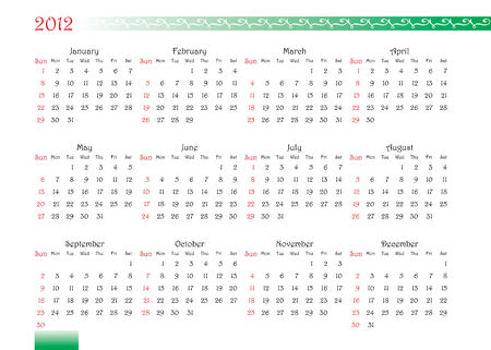 horizontal oriented calendar grid of 2012 year with decorated font and ornament Vector