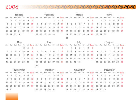 thursday: horizontal oriented calendar grid of 2008 year with decorated font and ornament. Monday is first day of week
