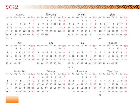 水平指向の装飾フォントと飾りが 2012 年のカレンダー グリッド。月曜日は週の最初の日  イラスト・ベクター素材