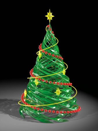 The rendered stylized Christmas glass pine tree photo