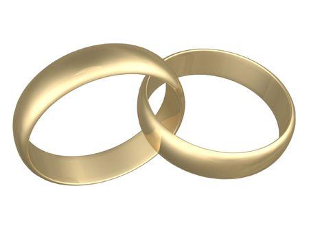 白い背景の上の金分離婚約指輪