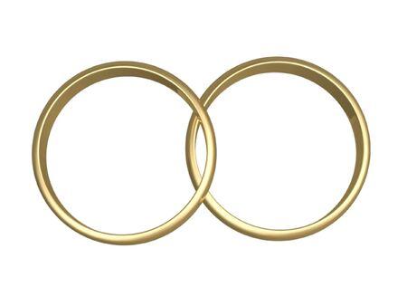 interlocked: Isolated engagement gold  rings on white background