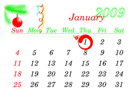 New Year calendar page January 2009. The 1-th date is checket. Vector