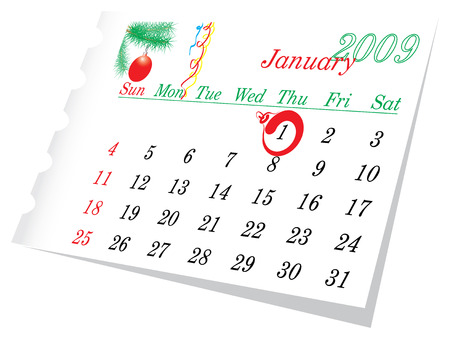 january 1: New Year calendar page January 2009. The 1-th day is checket.