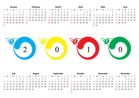 horizontal oriented calendar grid of 2010. Sunday is first day of week Vector