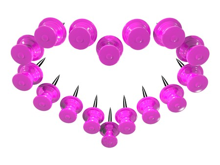 thumbtack: Colored plastic pins placed as heart shape on white background