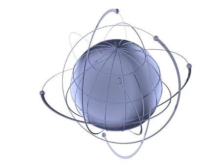 3 D レンダリングされた衛星の有線軌道で金属グローブ