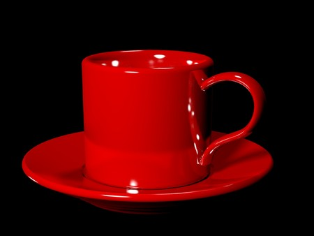 Red cup and the saucer on black background. Knob and its reflection is as heart shape photo