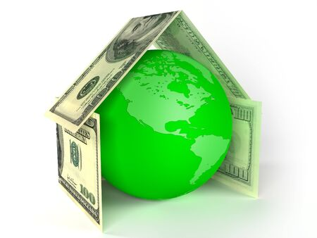 The globe of Earth inside house made by dollars Stock Photo - 4489859