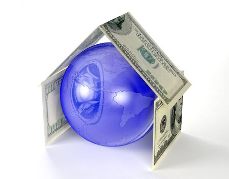 The globe of Earth inside house made by dollars photo