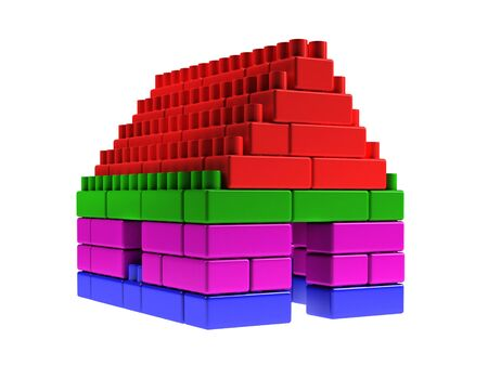 violet residential: Small house made by colored blocks Stock Photo