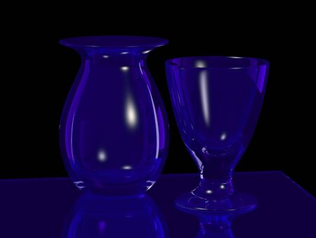 christal: blue glass vase and goblet on black Stock Photo