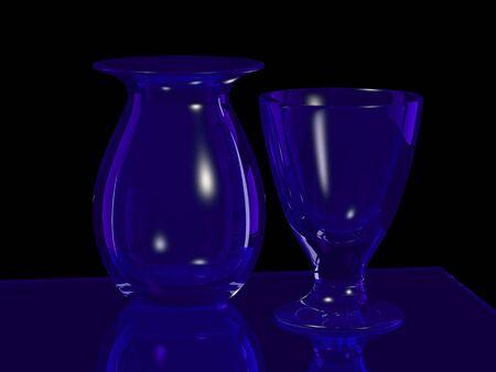 tumbler: blue glass vase and goblet on black Stock Photo
